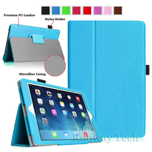 Premium Folio Slim PU Leather-based Stand Case Cowl for Apple iPad Air 2 Case for iPad 6 2014 Lychee Grain Case Cowl + Free Stylus