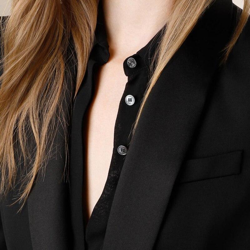 Femmes Petit Solide Slim Aucun Fashion Mode Seul Black Spandex Vente Hot De Régulier Blazer Bouton Top Blazers Et Costume Vestes wTaqIvI