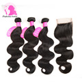 8A Brazilian Body Wave With Closure Unprocseed Brazilian Virgin Hair With Closure 3 Bundles Human Hair Weave With Lace Closure