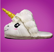 Plush Unicorn Slippers Funny Adult Chausson Licorne Winter Warm Indoor Home Shoes For Men Pantoufle Licorne