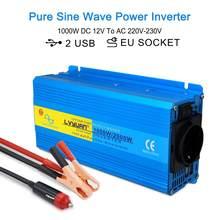 2000W Pure Sinus Omvormer Dual Usb Dc 12V Naar Ac 220V 230V Auto Camping boot Converter 3.1A 2 Usb Eu Plug