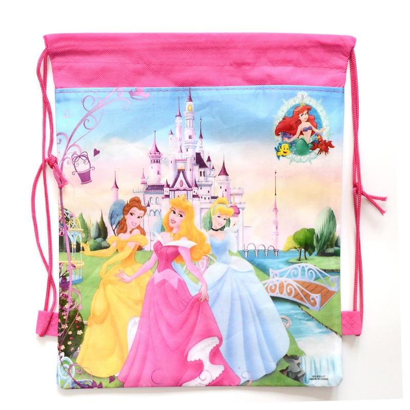 1 Pic children schoolbags Princess Drawstring font b Bags b font Cartoon For Girls Boys multipurpose