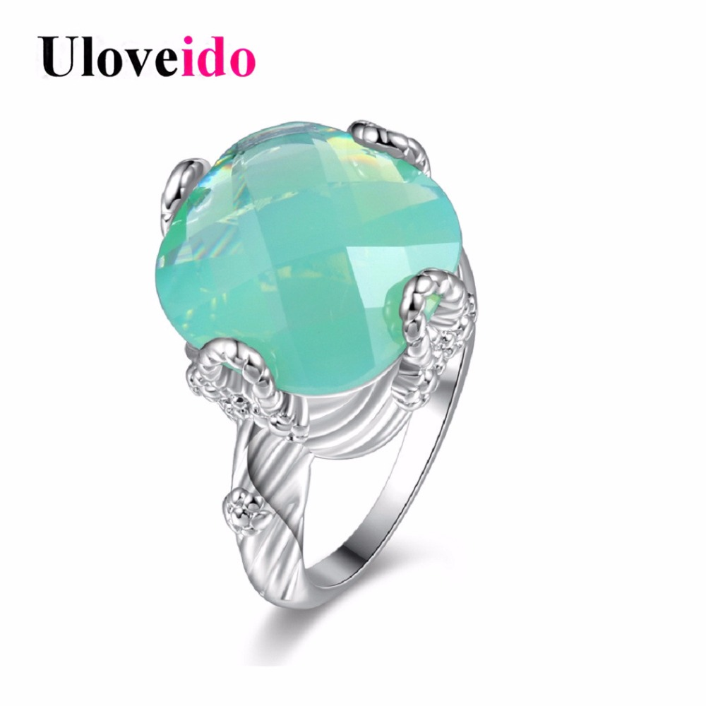 Uloveido Green Rings for Women Cubic Zirconia Women's Ring Female Silver Color Jewelry Decorating Valentines Day Gift Y348