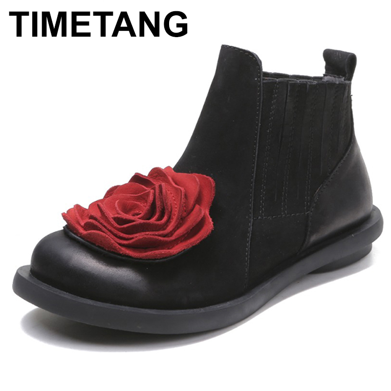 TIMETANG Big Red Flower Women Boots Cow Suede Round Toes Ankle Boots Flat Heels Handmade Shoes Vintage Boots C310