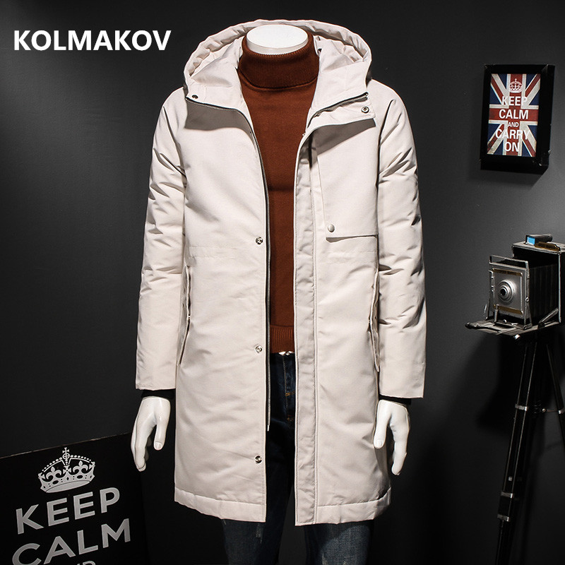 2018 Winter Men fashion trench   Coat     Down   Jacket Thicken Hooded casual 90% white duck   down   Parka   Coats   big size to 4XL