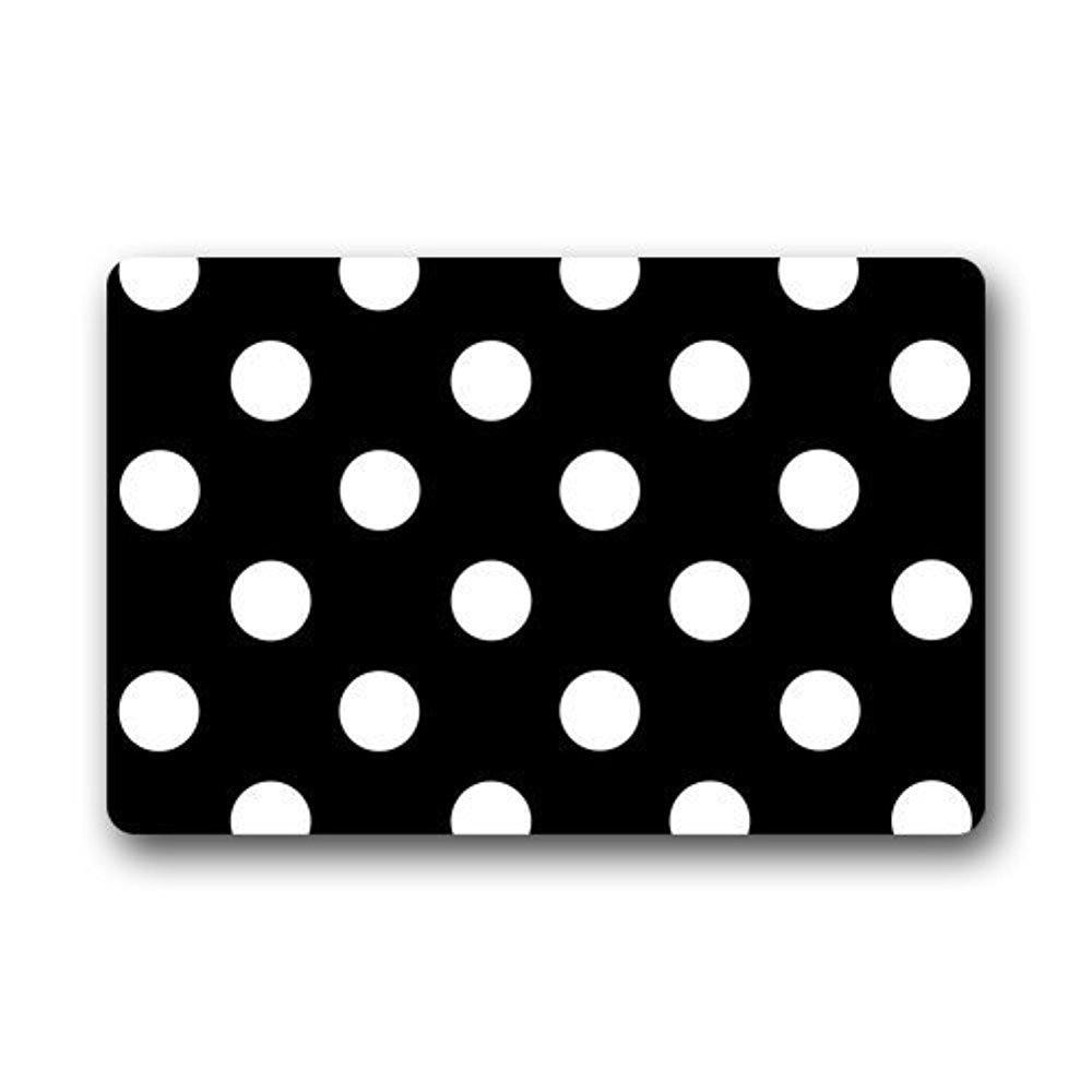 Elegant Memory Home Polka Dot Bathroom Kitchen Floor Mat Machine Washable Non Woven  Fabric Indoor/Outdoor/Shower/Bathroom Doormat Black