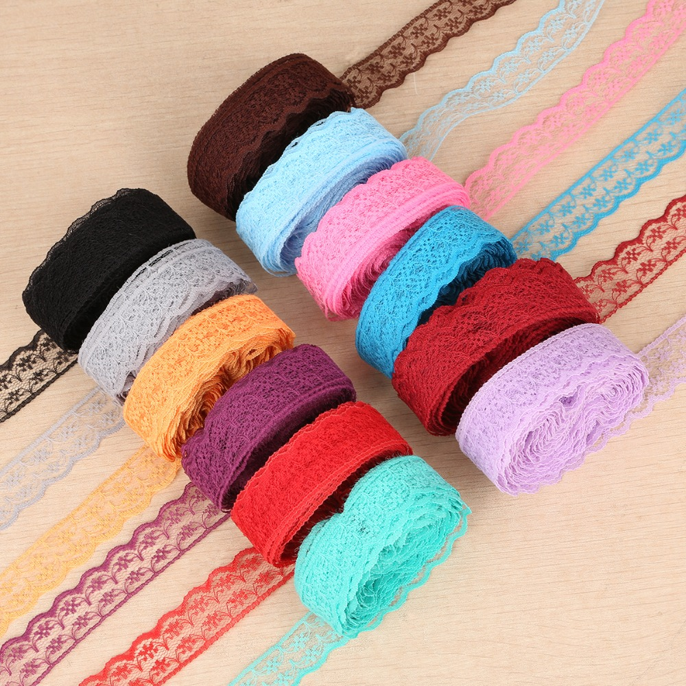 New 10 Yards Fabric Trimming Lace Ribbon 2 Cm Width Embroidered Lace For DIY Sewing/Clothing/Floral Decorations Material