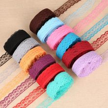 New 10 Yards Fabric Trimming Lace Ribbon 2 cm Width Embroidered Lace For DIY Sewing/Clothing/Floral Decorations Material(China)