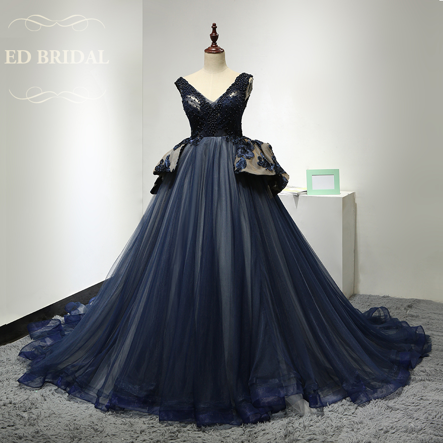 Custom Made Pearls Beaded Tulle Puffy Ball Gown Navy Blue Evening ...