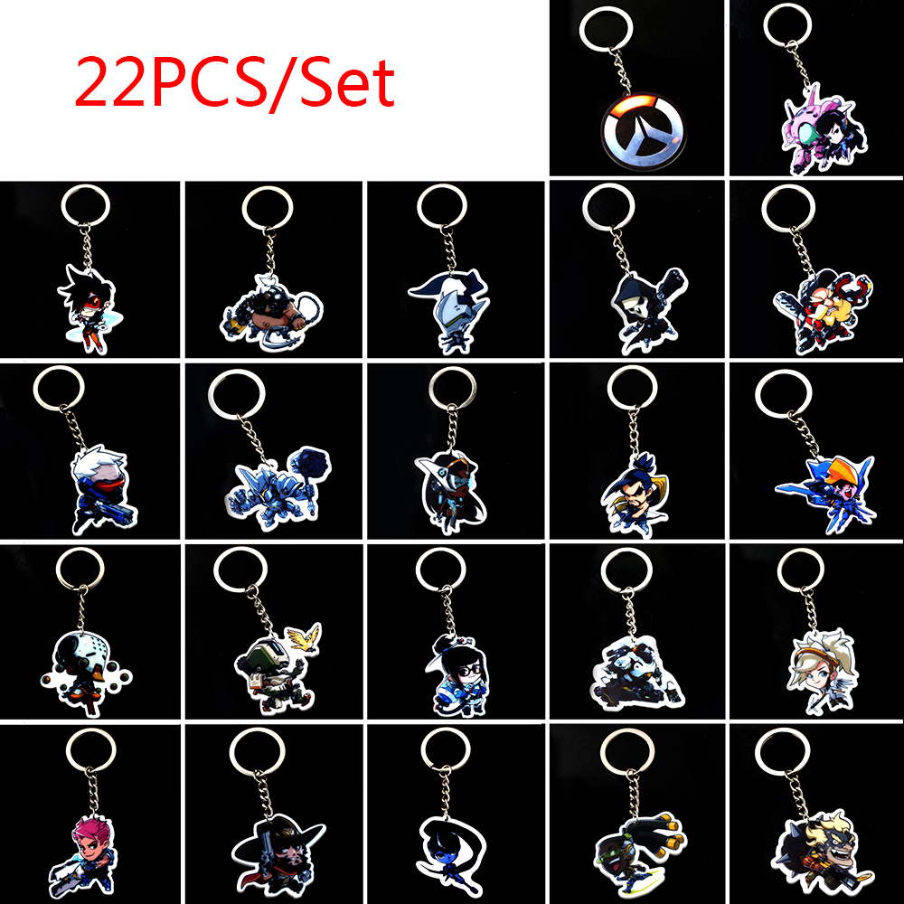 22PCS/set Overwatch FPS game PVC Cosplay keychains ow heroes keyring soft log tracer reaper key chain pendant Llavero Chaveiro
