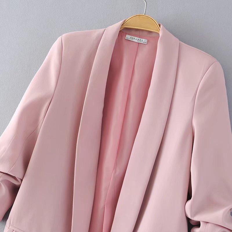 HTB16kACa3vD8KJjSsplq6yIEFXaf Jacket women elegant 5 color outerwear pocket office casual fashion jacket
