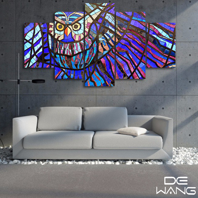 5 Piece Canvas Art Paintings Abstract Glass Wall Pictures Canvas Painting  Calligraphy Decorative Owl Pictures Pattern