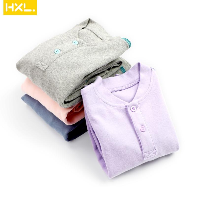 Carsinlon Autumn Winter Kids Thermal Underwear Cotton Thick Boys Pyjamas Girls Sets Solid Children Long Johns Warm Suits