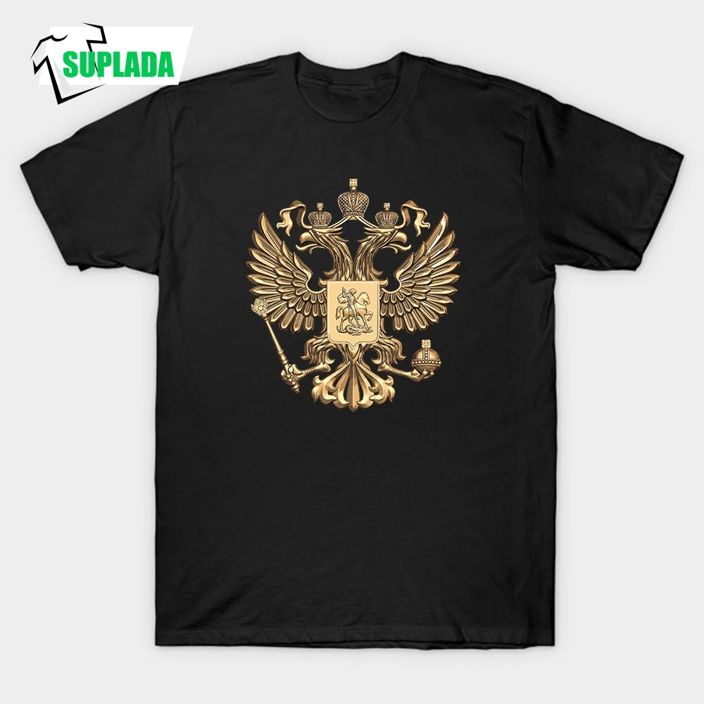 3D Printed T-Shirts Coat of Arms of Russia T Shirt Men 100% Cotton Gold Eagle 3D Tee Plus Size Short Sleeve Custom Tops Male