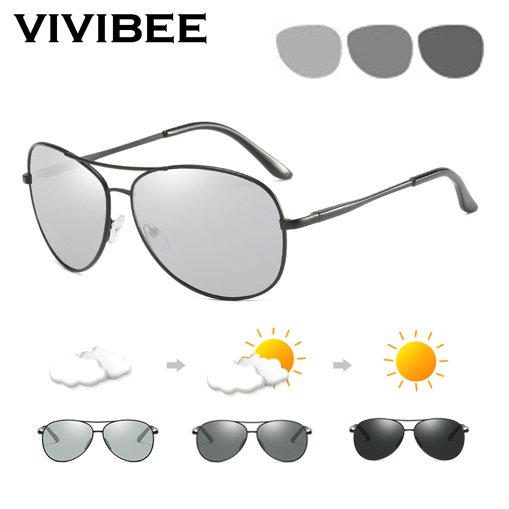 375.37руб. 40% OFF|VIVIBEE Photochromic Polarized TAC Aviation Sunglasses Men Driver Aluminium Magnesium Sun Glasses Women Driving Sunglases|Men