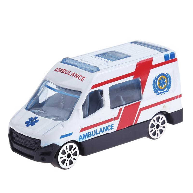 6pcs Mixed Alloy Ambulance Vehicle Car Model Toys Set Child Educational Toys for kids Model High Simulated Model Baby Kids Toy