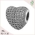 Trendy Shamballa Beads zircon heart charm silver rhinestone bead handmade jewelry accessories christmas charms breloques 925
