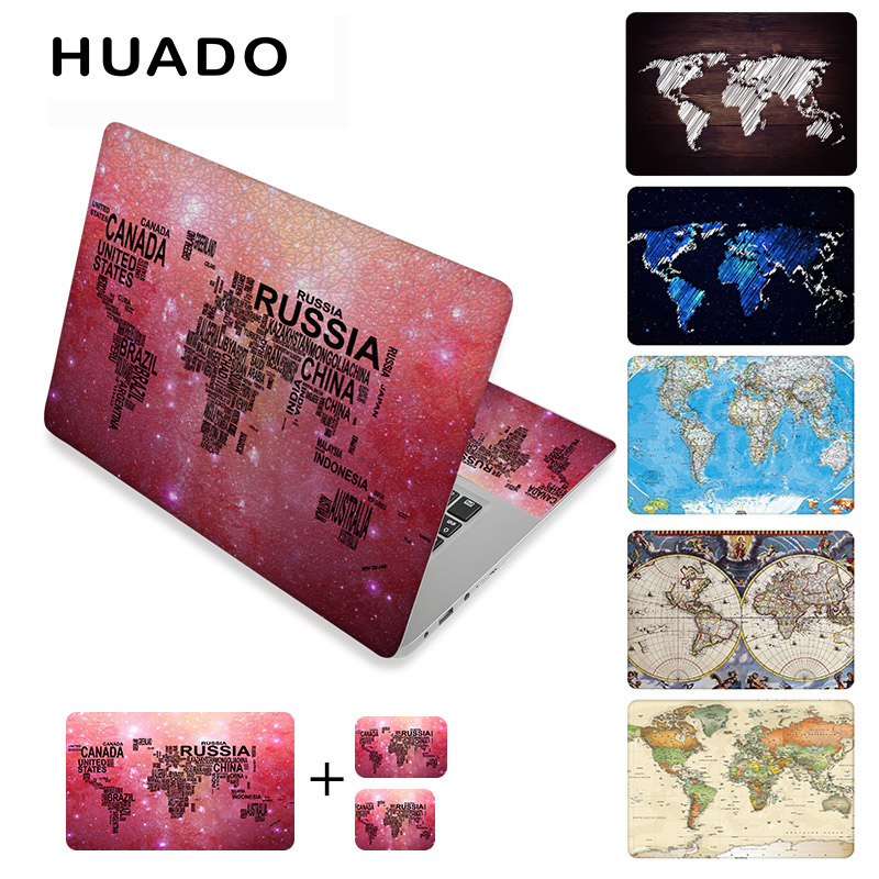 World map laptop stickers 17 vinyl notebook skin 15.615 decals 1214computer sticker cover for mac air 13.3/asus/hp/lenovo world map wall sticker