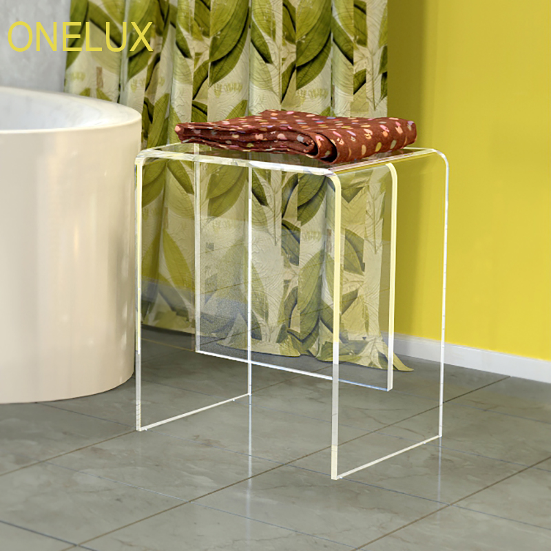 Acrylic Vanity Bath / Shower Stool, Lucite Side U Table -40W 30D 47H CM