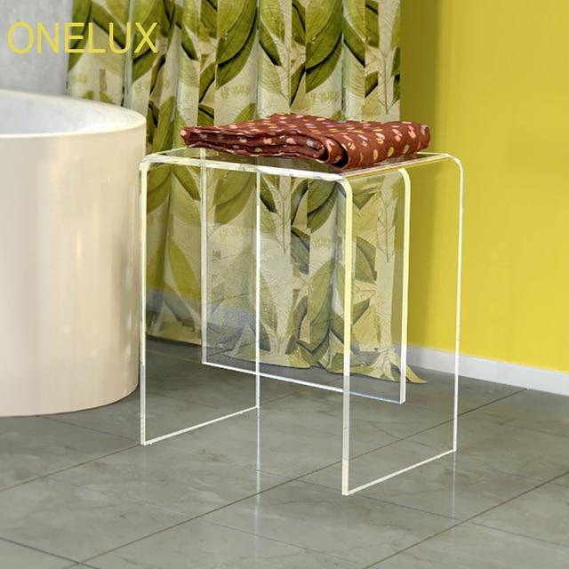 Acrylic Vanity Bath / Shower Stool, Lucite Side U Table  40W 30D 47H CM