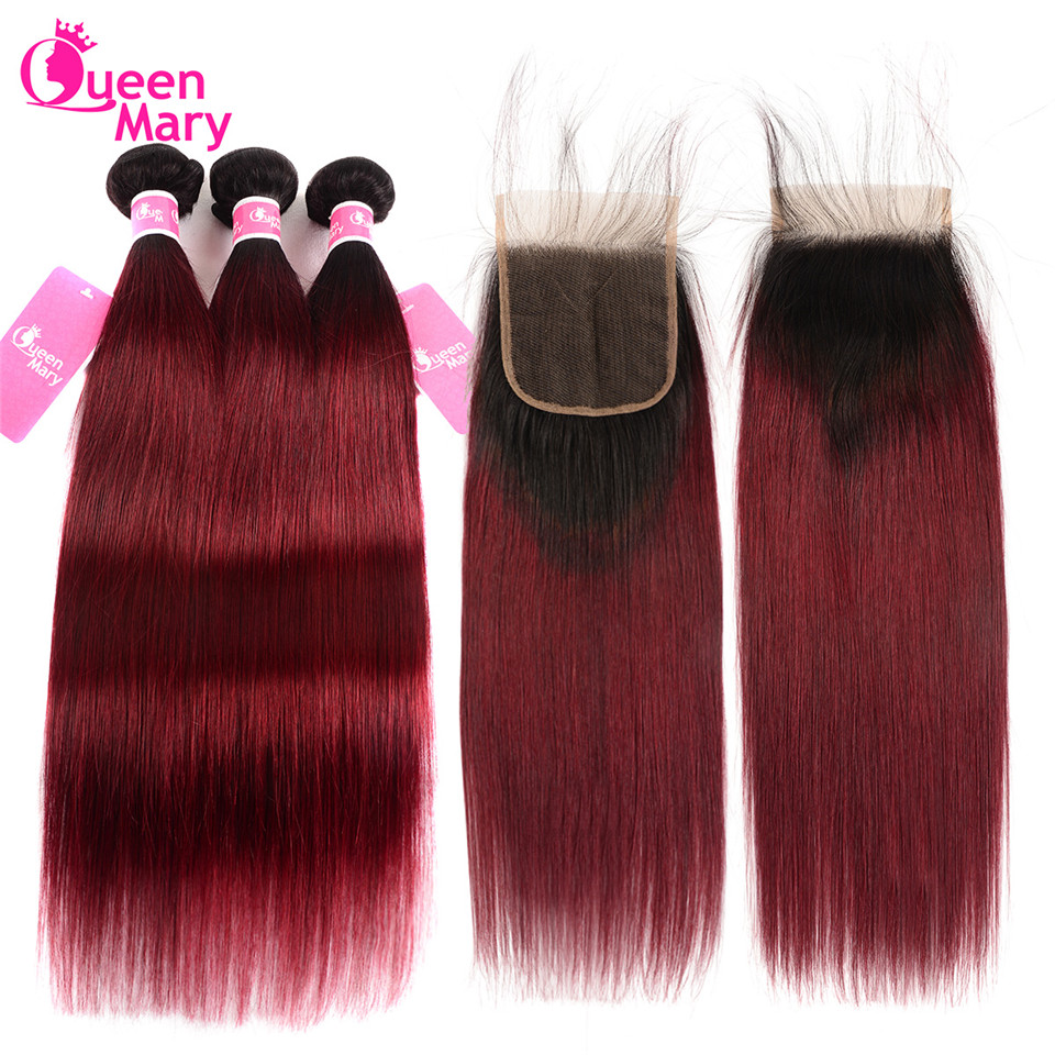 Human-Hair-Bundles Straight Hair Ombre Queen Mary Closure Weave Brazilian with Non-Remy