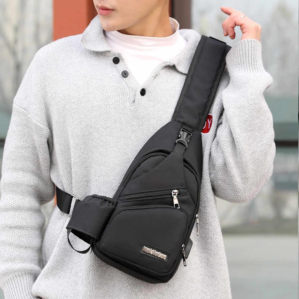 Sacos dos homens para homens Moda Multi-Função de Carregamento de Viagem No Peito Mensageiro bolso hombre homme sacoche sac homme