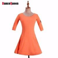 Top Qualidade Vestido de Dança Latina Para A Menina Preta Laranja Lycra Da Escola Dos Miúdos Crianças Verão Maxi Elástico Mostrando Vestidos de Salão 4077