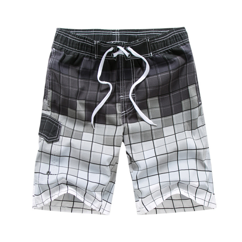 Quick Dry Mens Beach Shorts Plaid Surfing Trunks Surf Board Pants Pockets