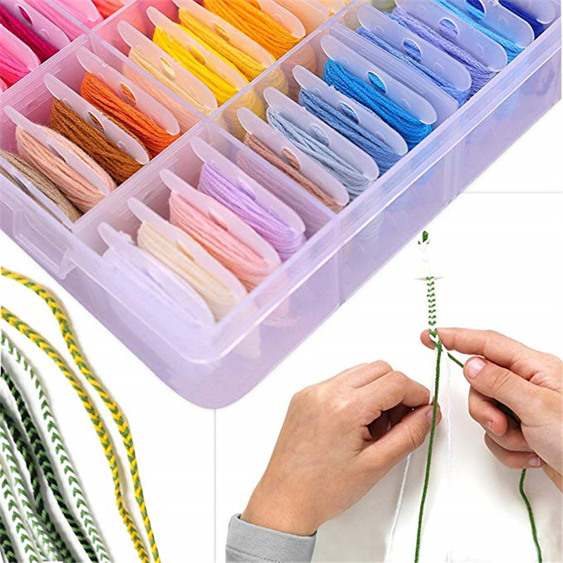 Embroidery Floss with Storage Box Mix 96 Colors Threaders With Floss Bobbins Includes 38 Pcs Sewing Accessories Kit For Beginner (7)