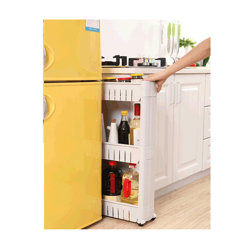 1 Pc White Gap Storage Shelf For Kitchen Storage Skating Movable Plastic  Bathroom Shelf Save Space 3/ 4 Layers High Quality In Storage Holders U0026  Racks From ...