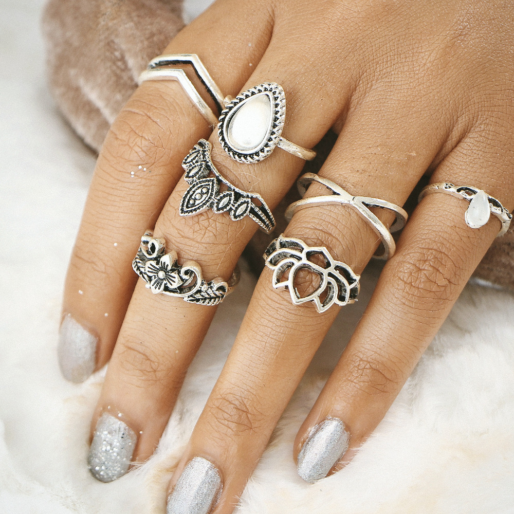 Antique Gold Silver Color Flower Leaf Totem Stone Ring Set Knuckle Rings Midi Finger Women Hollow Cross Crown Jewelry 7 pcs/Set