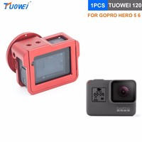 TUOWEI Aluminum Alloy Back Door Cage Protective Housing Case Cover With 52mm UV Lens For GoPro