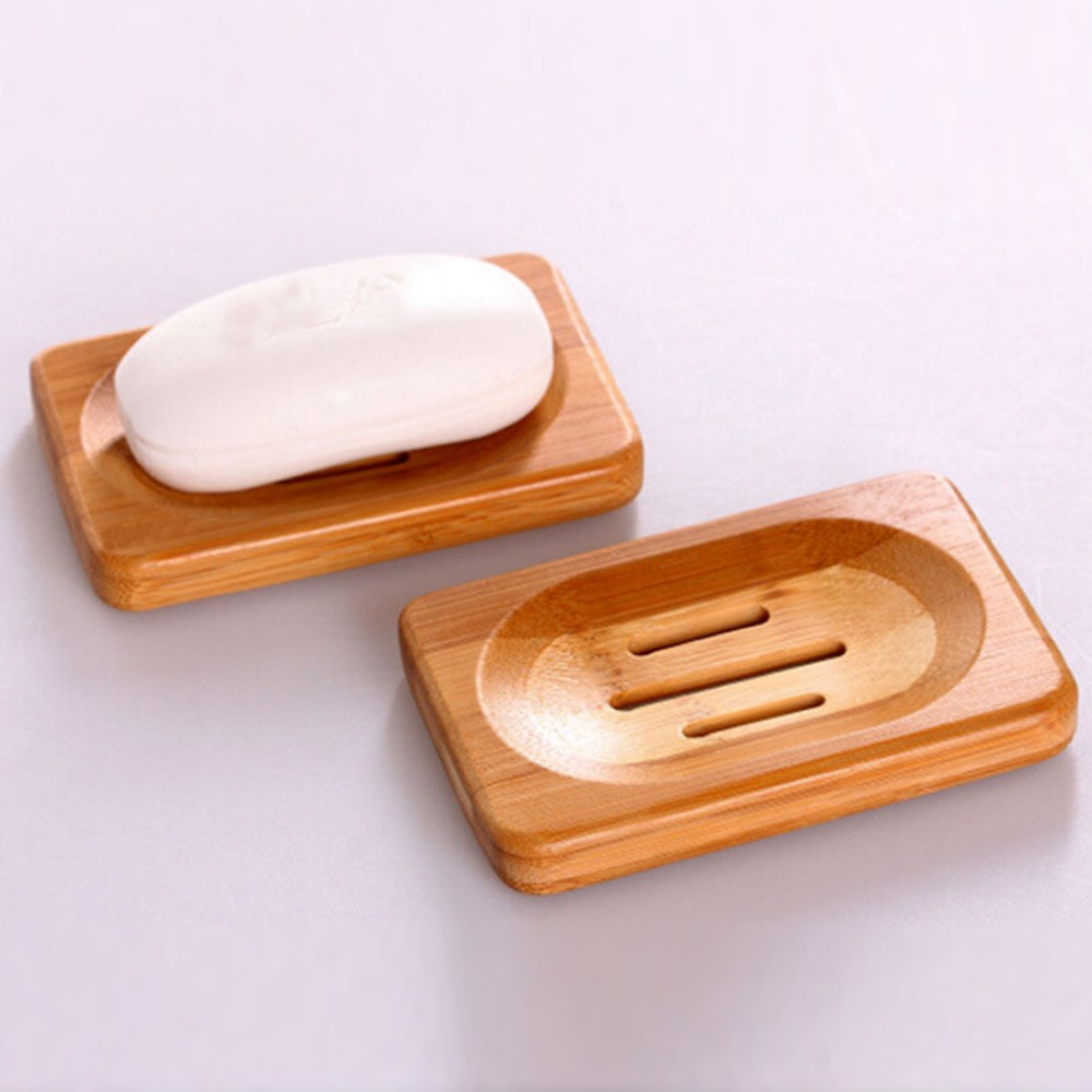 Worldwide Natural Bamboo Wood Soap Dish Storage Holder Bath Shower Plate Bathroom