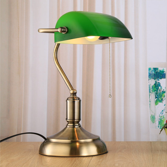 Green Retro Table Lamps With Pull Chain Switch Gl Lampshade Alloy Bracket Bedside Lamp Study Office Cafe Vintage Desk Lights