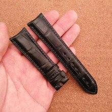 Customed Cocodrilo cocodrilo correa de pulseras de Cuero correas de reloj correa masculina de la correa de cuero hecho a mano de encargo de moda nuevo extremo curvo