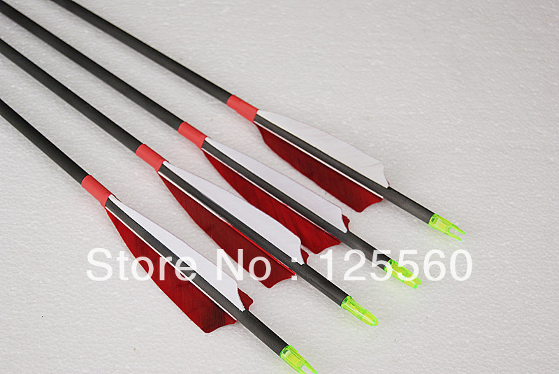 Free shipping 12 pcs carbon arrow turkey feather ID 4 2mm shaft length 30 spine 700