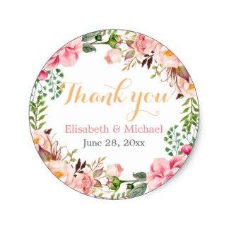 3 8cm Wedding Favor Fl Decor Thank You Clic Round Sticker