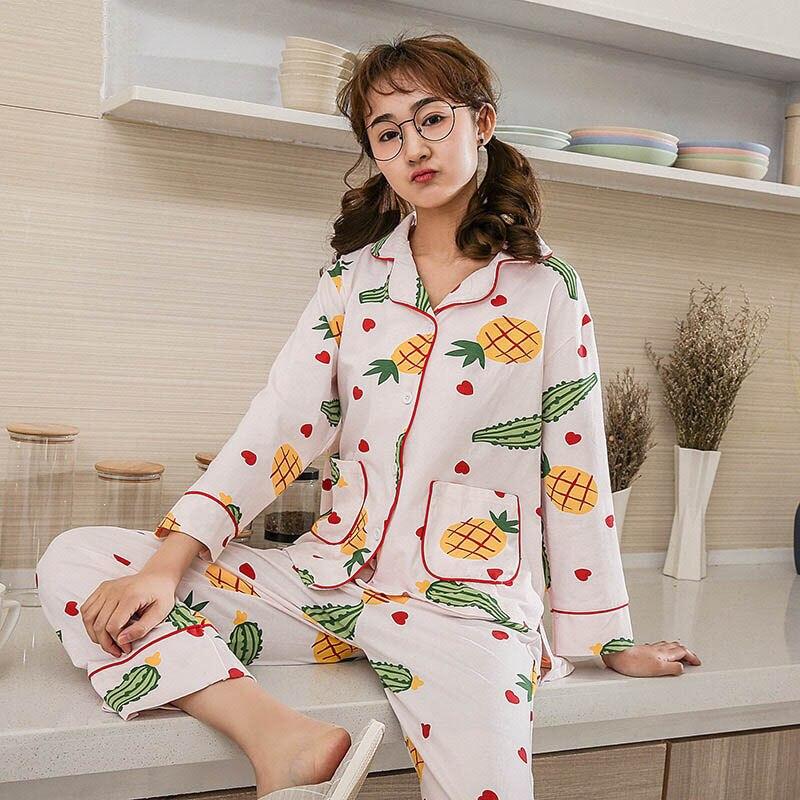 Ladies Pajama Set Cartoon Pineapple Printed Long Sleeve And Pants Turn-down Neck Cute Women Sleepwear Cotton Soft Loose Homewear