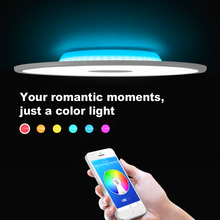 купить Modern LED ceiling light RGB dimming bluetooth speaker 36W APP control living room bedroom smart ceiling lamp 90-265V по цене 7928.42 рублей