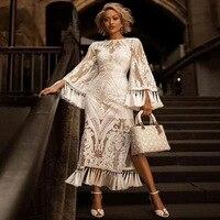 Boho chic embroidery tassel long sleeve slit white lace maxi dress robe ceremonie femme Vintage festival long renaissance dress