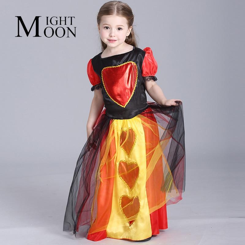 MOONIGHT Alice in Wonderland Cosplay Costume Children Girls Queen Of Hearts Dress Red Queen Kids Halloween Costume