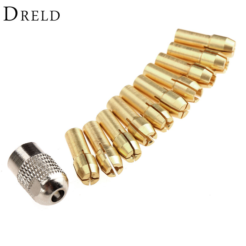 10Pcs 0.5mm-3.2mm Brass Collet Mini Drill Chucks 4.8mm Shank For Dremel Rotary Tools+Mill Shaft Screw Cap Power Tool Accessories