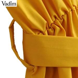 Image 5 - Vadim 女性のエレガントな黄色ミッドカーフドレスサッシポケット弾性ウエスト半袖女性プリーツシックなドレス vestidos QZ3624