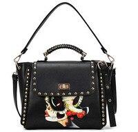 Doll Graffiti Women Bag Retro Rivet Women Messenger Bags Women Leather Handbags 20PCS Lot