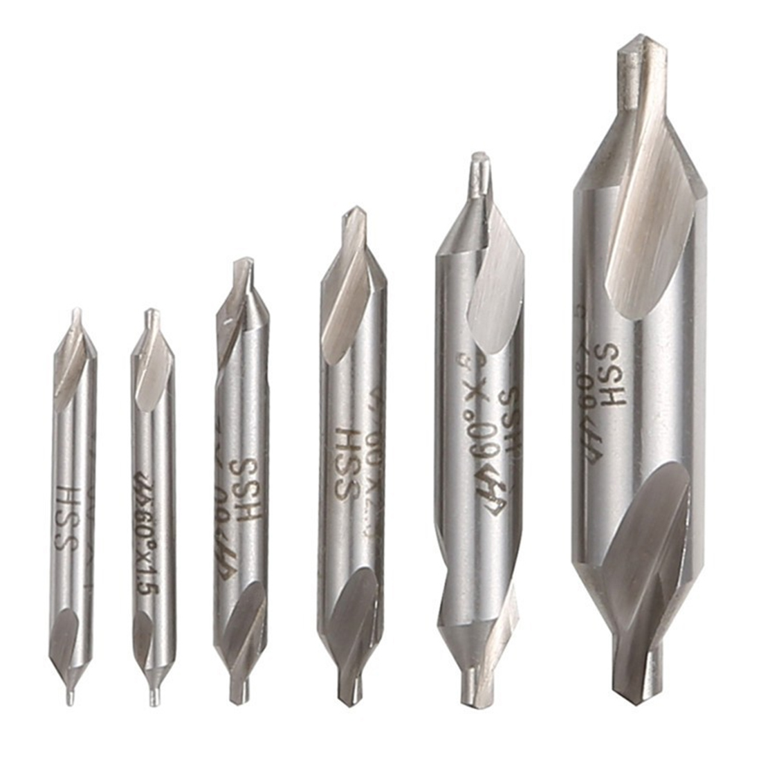 HSS High Speed Steel Center Drill Bits Set Precision Combined Countersinks Kit 60 Degree Angle 1mm 2mm 3mm 5mm For Power Tools
