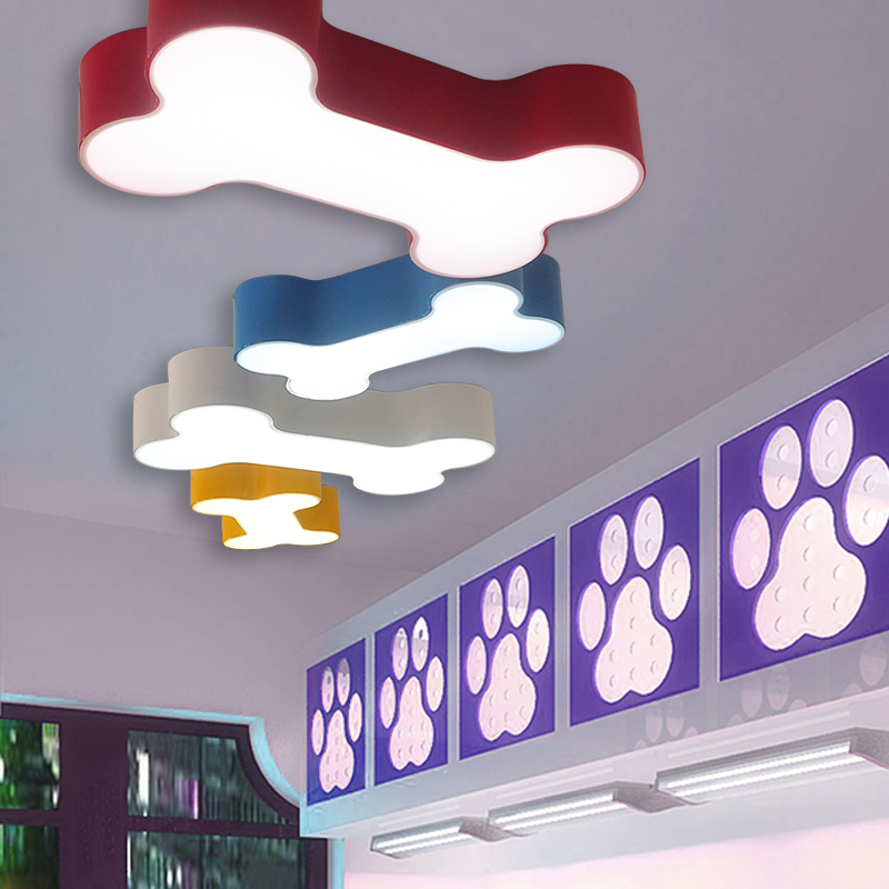Modern brief colorful body bedroom acrylic LED ceiling lamp home deco children room dog bones iron ceiling light fixture