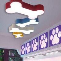 Ngắn hiện đại cơ thể đầy màu sắc phòng ngủ acrylic trần LED đèn home deco trẻ em phòng xương chó trần sắt ánh sáng lịch thi đấu