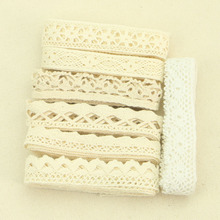 4YARD Apparel Sewing Fabric  DIY Ivory Cream Black Trim Cotton Crocheted Lace Fabric Ribbon Handmade Accessories Craft 11021