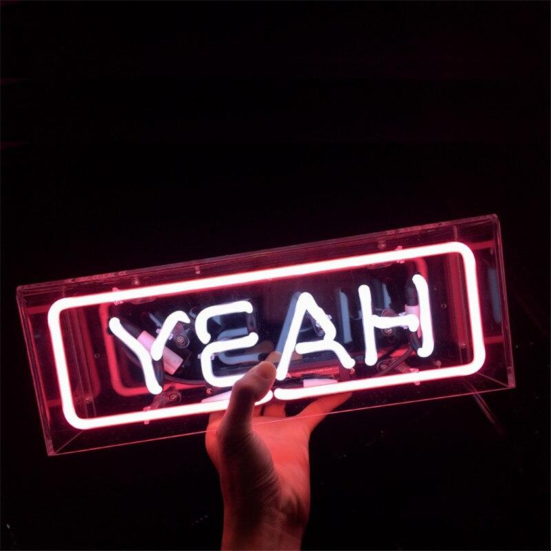 Boîte acrylique sur mesure néon signe Tube lumière vrai verre Tube artisanat éclairage pour KTV Pub Bar magasin lumière US Plug AC220V 110 V