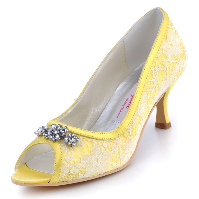 097dbdca68cb1c AJ55 Yellow Bridesmaids Women Low Heel Satin Wedding Pumps Evening Party  Peep Toe Rhinstones Lace Bridal Dress Shoes